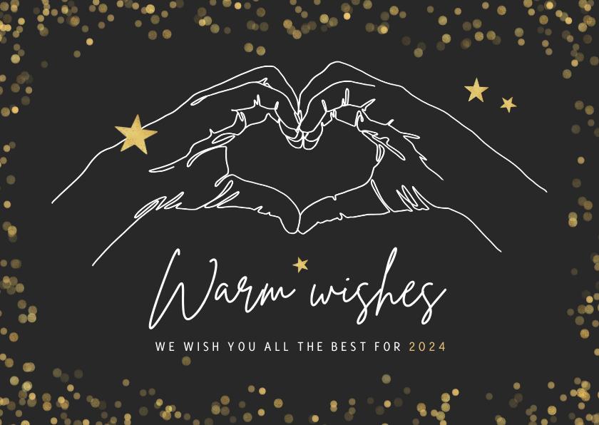 Zakelijke kerstkaarten - Zakelijke kerstkaart warm wishes goud handgebaar