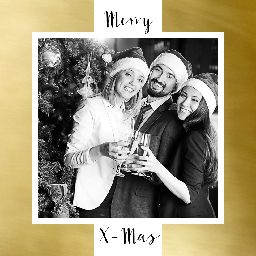 Zakelijke kerstkaarten - Zakelijke kerstkaart wit kader goud eigen foto