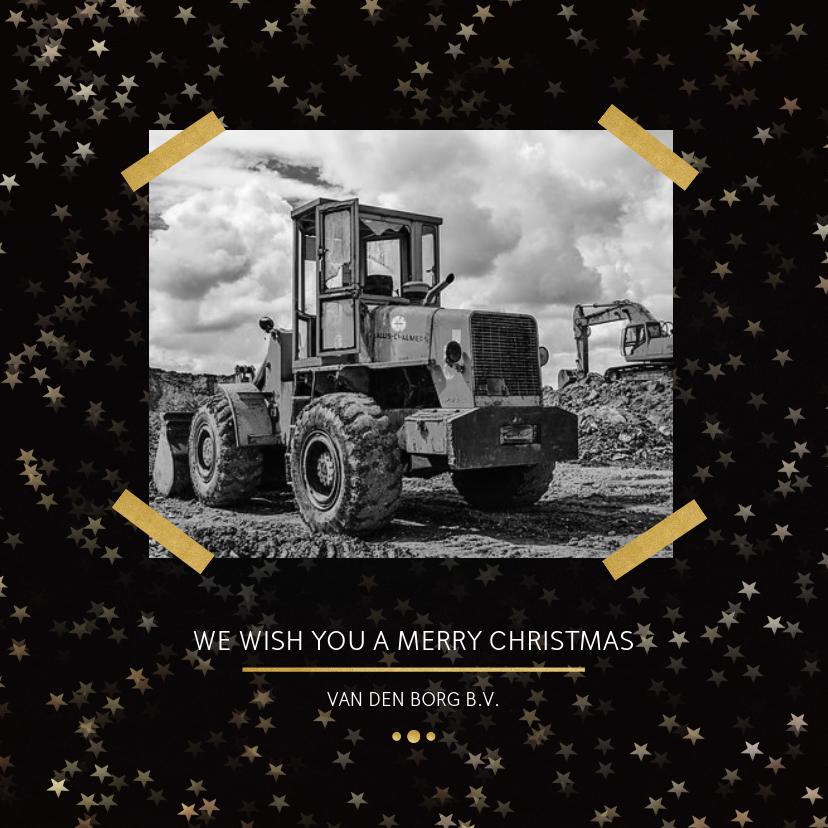 Zakelijke kerstkaarten - Zakelijke kerstkaart zwart met foto - een gouden kerst