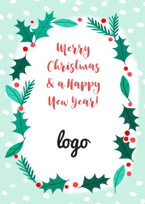 Zakelijke kerstkaarten - Zakelijke Kerstkrans met logo