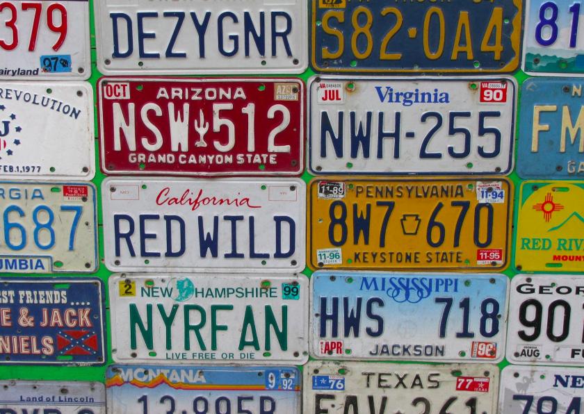 Zomaar kaarten - Amerikaanse nummerborden
