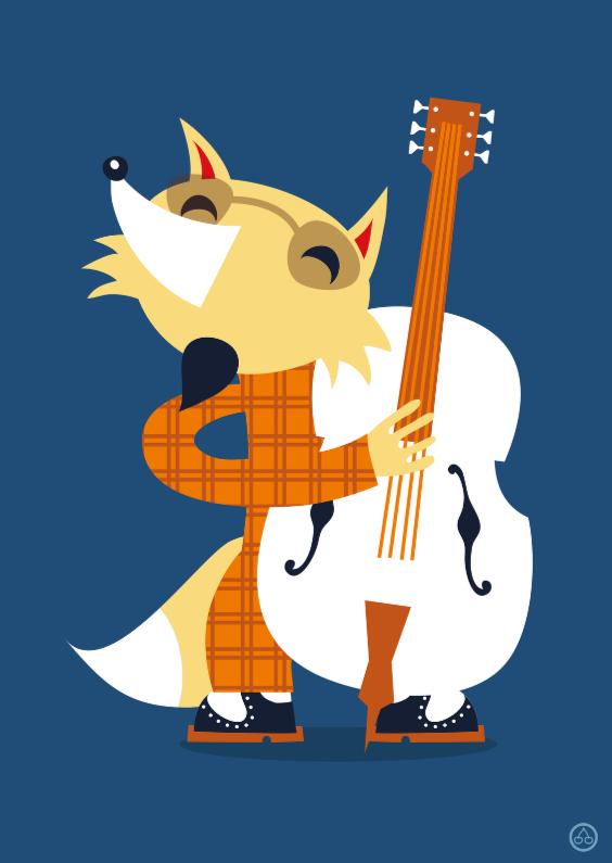 Zomaar kaarten - Bass player fox