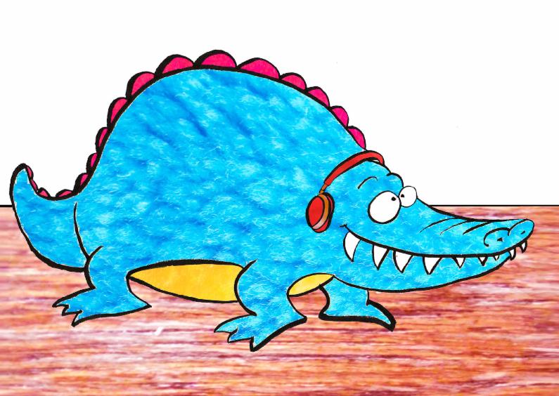 Zomaar kaarten - Blauwe krokodil