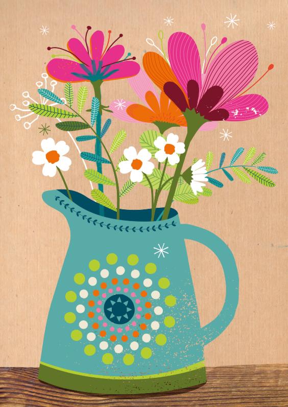 Zomaar kaarten - Bos bloemen in een vaas op bruin craft papier