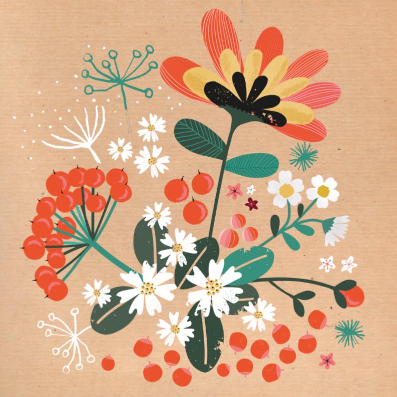 Zomaar kaarten - Bos bloemen op bruin craftpapier