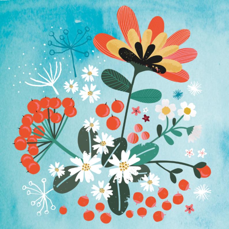 Zomaar kaarten - Bos bloemen op waterverf