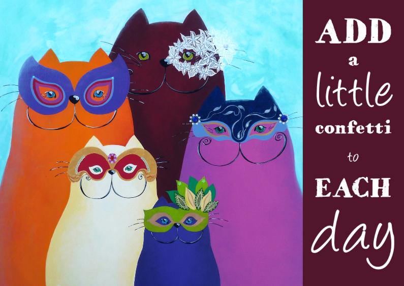 Zomaar kaarten - Coachingskaart confetti katten