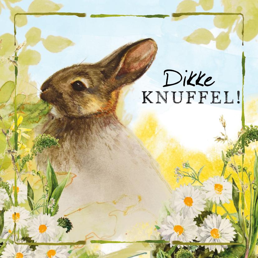 Zomaar kaarten - Dikke knuffel kaart met lief konijntje