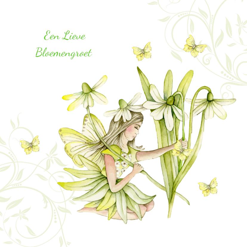 Zomaar kaarten - elfje met lieve bloemengroet