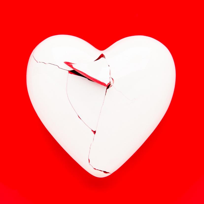 Zomaar kaarten - Gebroken hart - op rood
