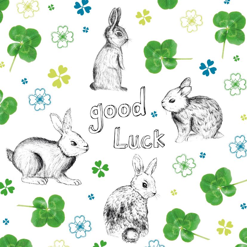 Zomaar kaarten - Good luck kaart met klavertjes en konijnen in groen en blauw