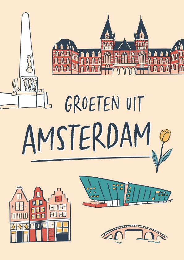Zomaar kaarten - Groeten uit Amsterdam grachtenpandjes