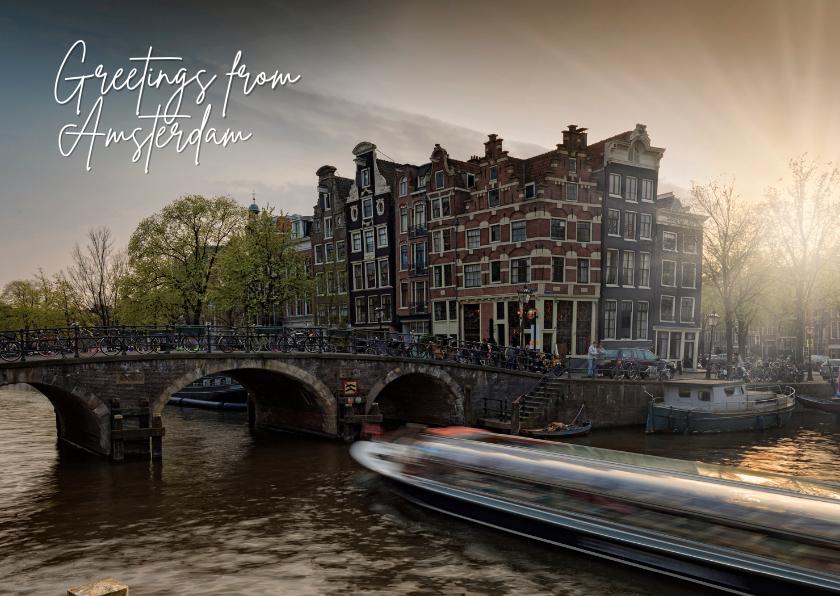 Zomaar kaarten - Groeten uit Amsterdam met een foto van een grachtenpand