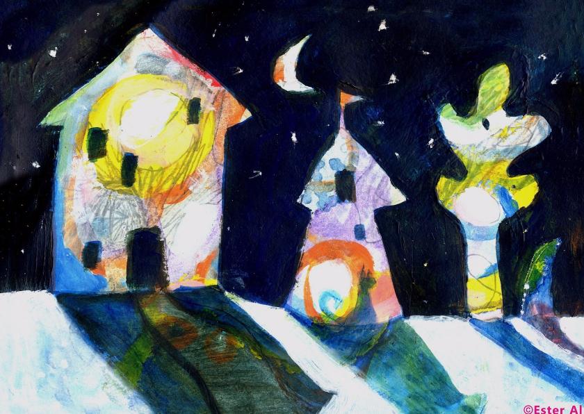 Zomaar kaarten - Huizen bij maanlicht