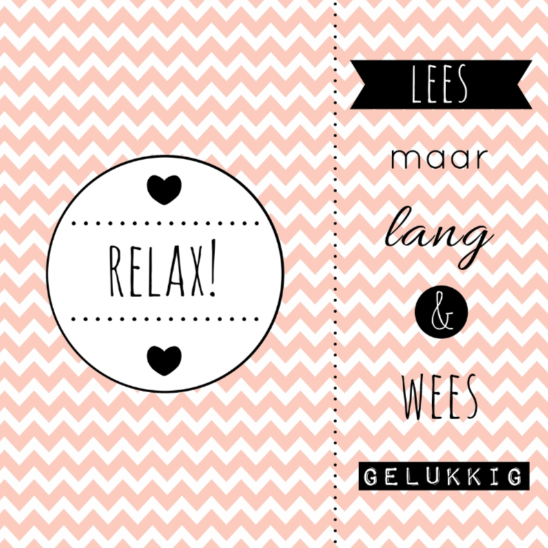 """Zomaar kaarten - Kaart """"Relax"""" boekenlegger - WW"""