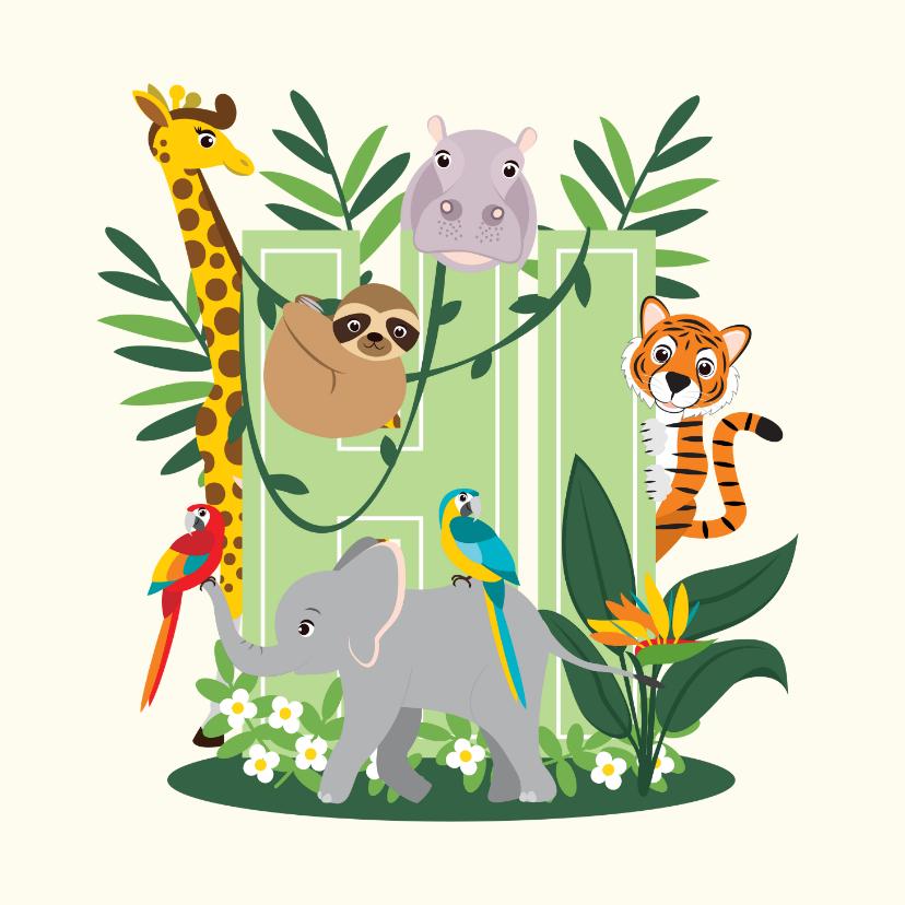 Zomaar kaarten - Kaartje met lieve jungledieren die hi zeggen