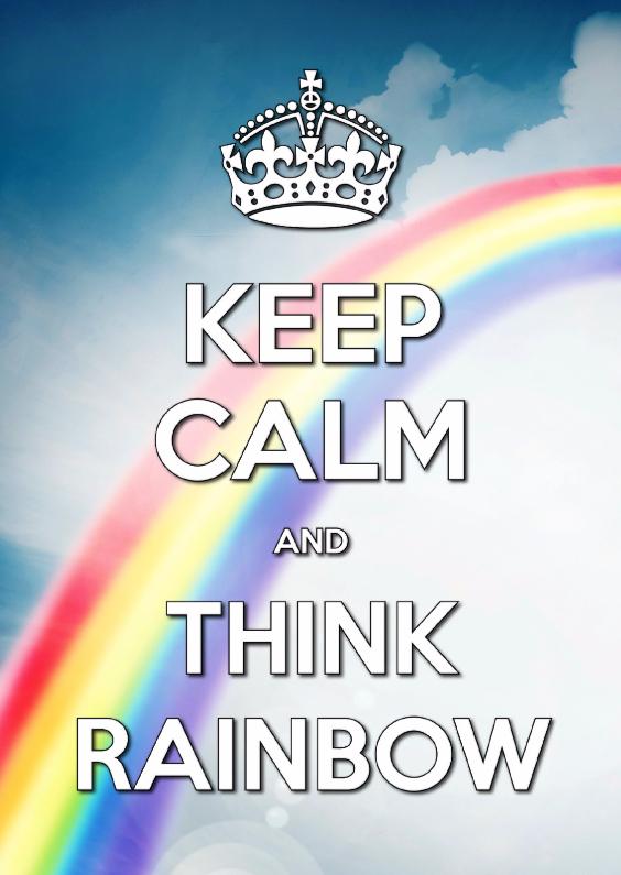 Zomaar kaarten - Keep Calm and think rainbow