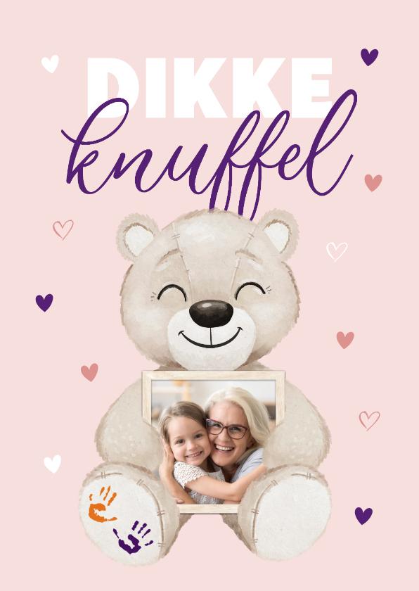 Zomaar kaarten - KiKa zomaar kaart dikke knuffel beertje hartjes