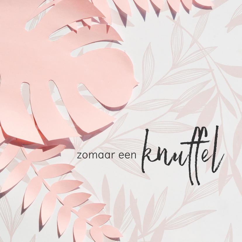 Zomaar kaarten - Knuffelkaart met roze bloemen