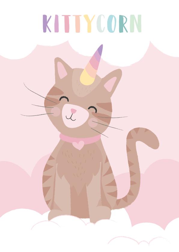 Zomaar kaarten - Lieve kaart met een unicorn kat illustratie. Kitticorn