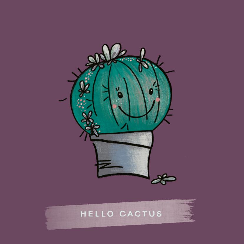 Zomaar kaarten - Lieve vriendschapskaart met een blije cactus in een pot