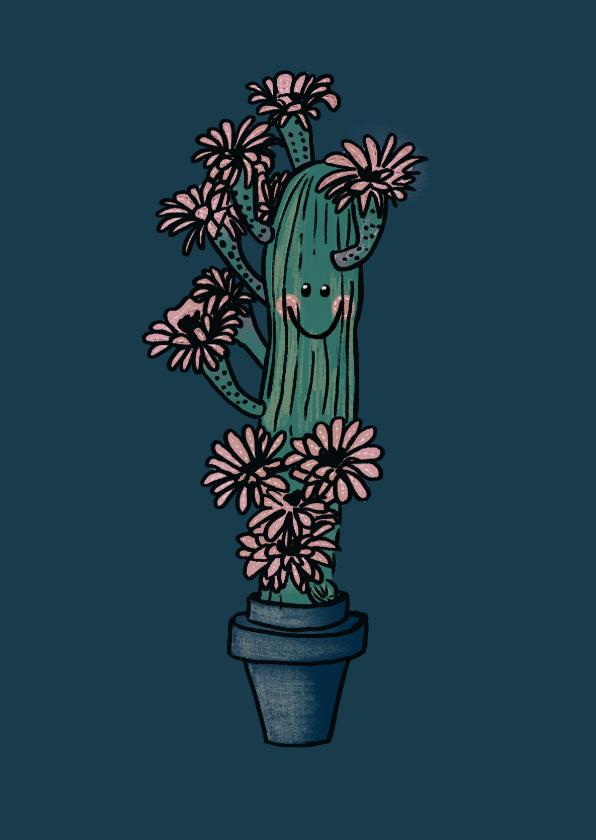 Zomaar kaarten - Lieve zomaar-kaart met cactus en roze bloemen