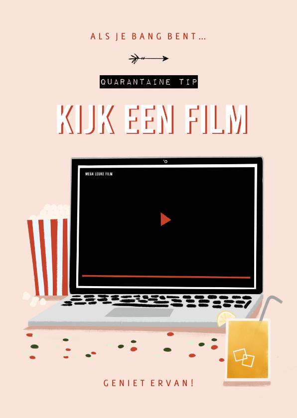 Zomaar kaarten - Make-A-Wish isolatie tip kijk een film met laptop roze