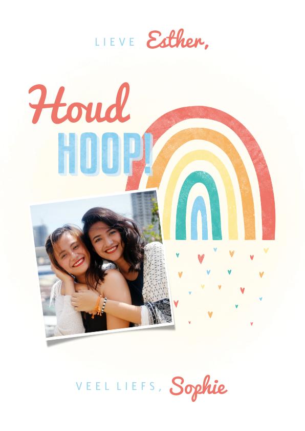 Zomaar kaarten - Make-A-Wish kaartje houd hoop met regenboogje en hartjes