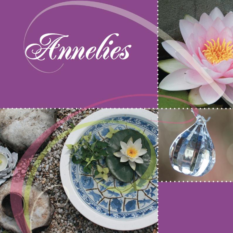 Zomaar kaarten - Paarse bloemenkaart eigen tekst