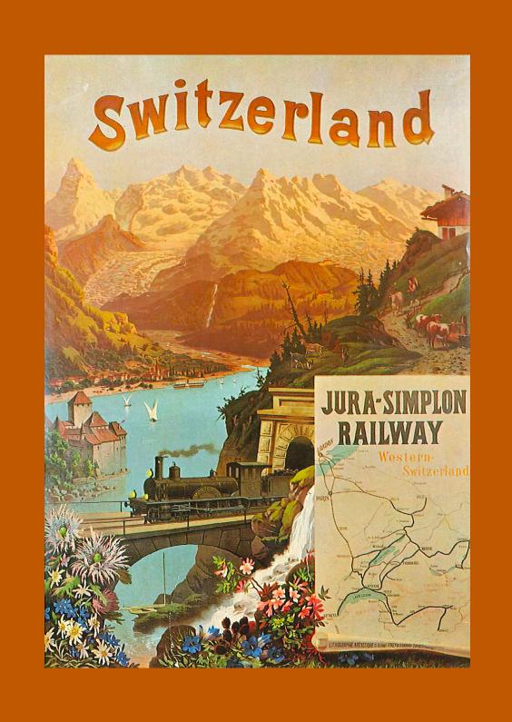 Zomaar kaarten - Reclameposter trein zwitserland