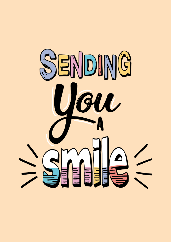 Zomaar kaarten - Sending you a smile - text color - zomaarkaart