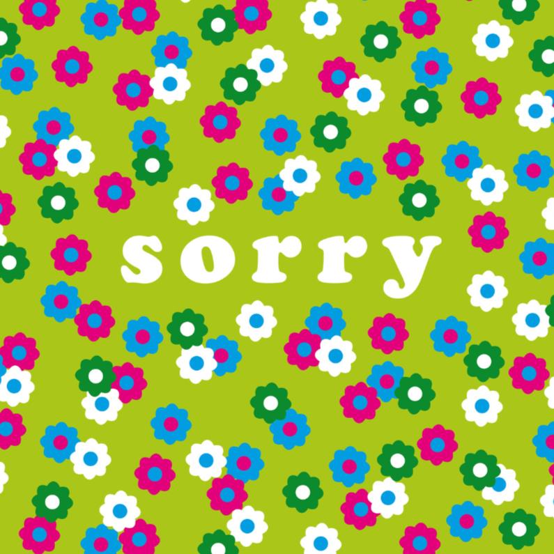 Zomaar kaarten - Sorry kaart bloemen vrolijk