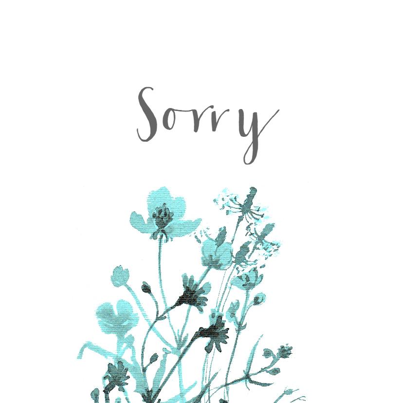Zomaar kaarten - Sorry kaart met getekende veldbloemen
