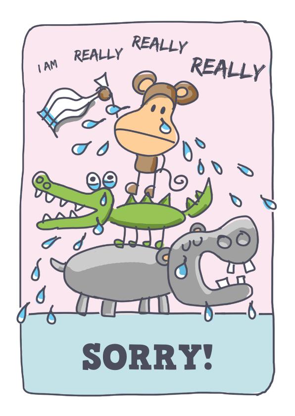 Zomaar kaarten - Sorrykaart met huilende dieren