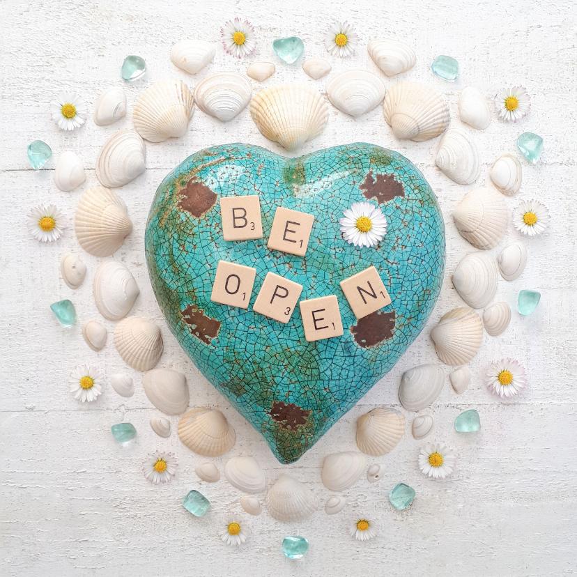 Zomaar kaarten - Spreukenkaart open je hart met edelstenen en madeliefjes