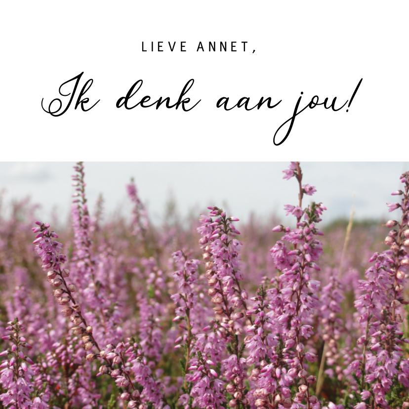 Zomaar kaarten - Stijlvolle zomaar bloemenkaart met bloeiende paarse heide