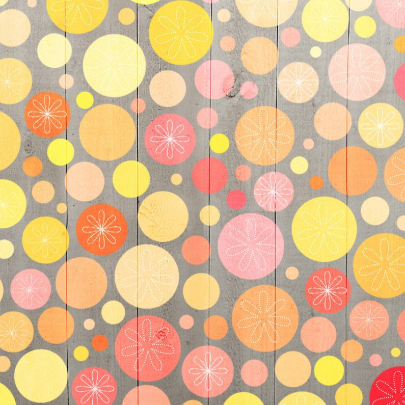 Zomaar kaarten - Stippen geel-oranje op hout