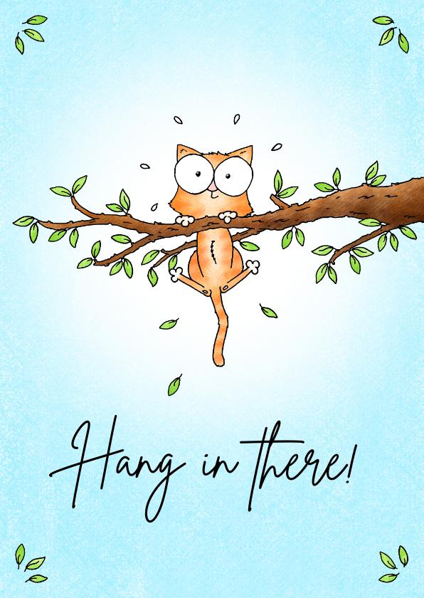 Zomaar kaarten - Succes kaart met kitten in de boom - Hang in there!