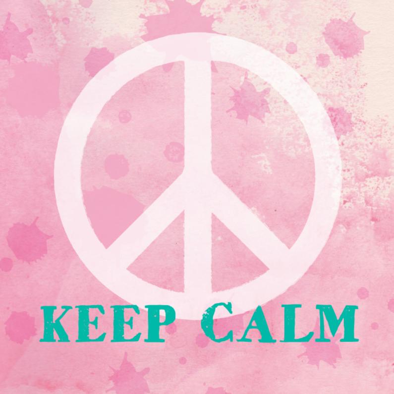 Zomaar kaarten - Succes kaart peace aquarel roze