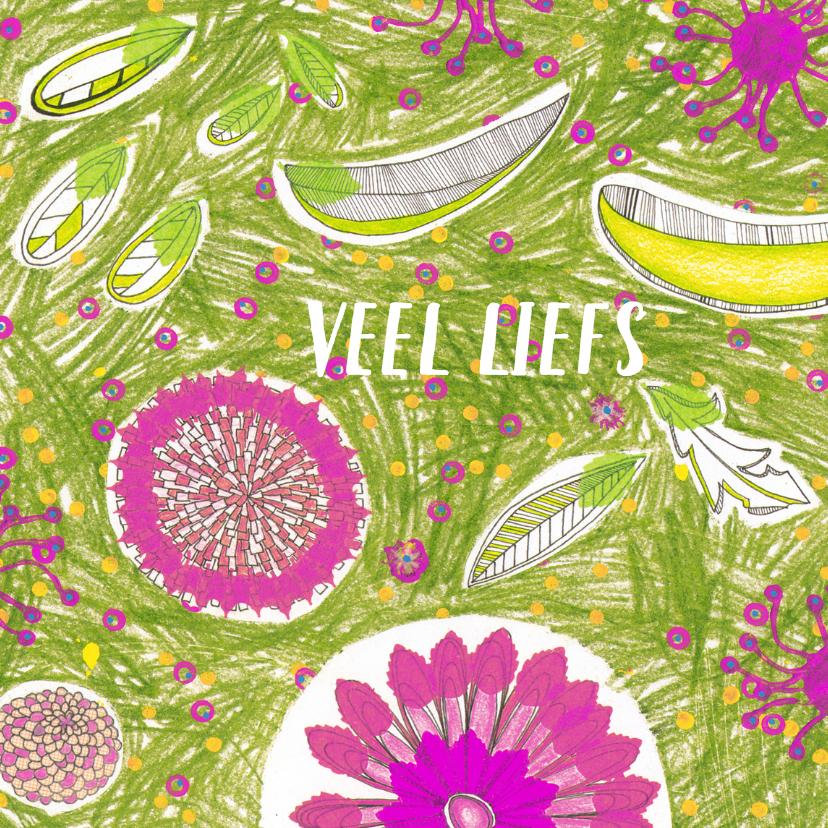 Zomaar kaarten - veel liefs bloemen getekend