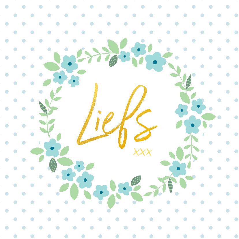 Zomaar kaarten - Veel liefs - gouden letters bloemen
