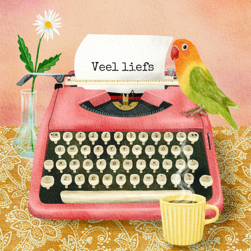 Zomaar kaarten - Veel liefs illustratie van een typemachine met brief