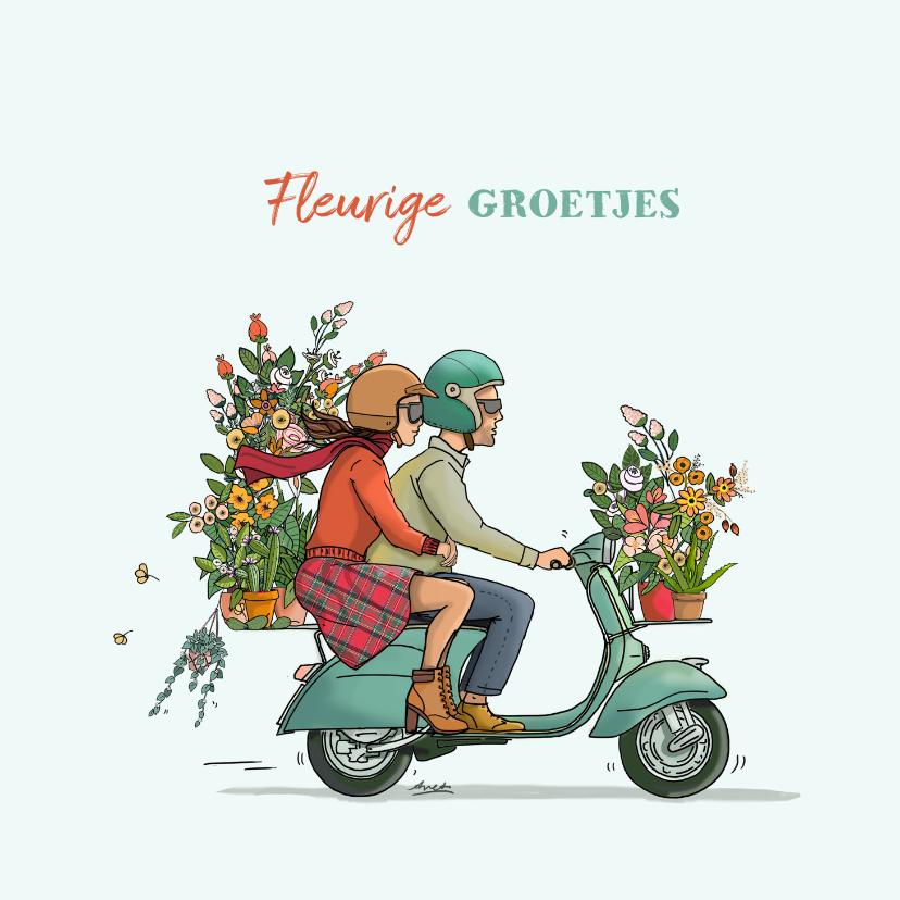 Zomaar kaarten - Vespa scooter met bloemen