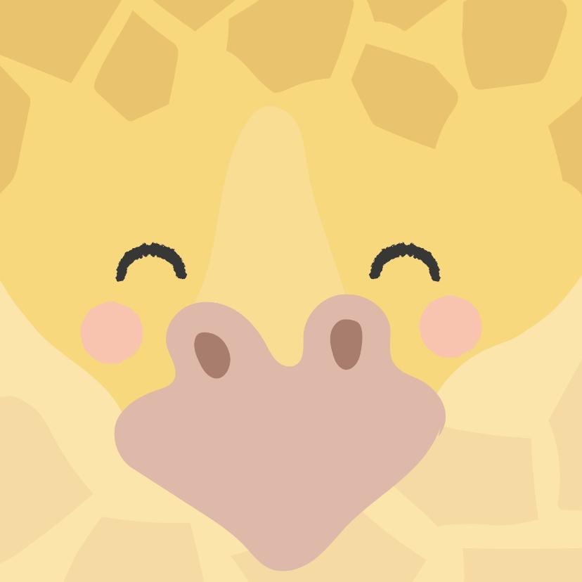 Zomaar kaarten - Vierkant kaartje met een gezicht van een Giraffe, groetjes!