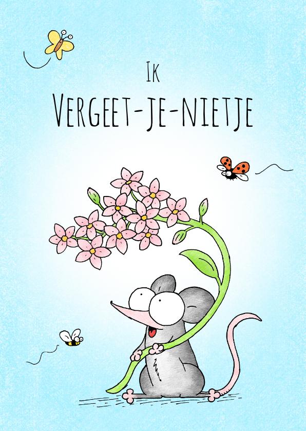 Zomaar kaarten - Vriendschap kaart met een muisje met roze vergeet-me-nietjes