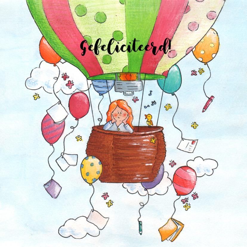 Zomaar kaarten - Vrolijke luchtballon met ballon