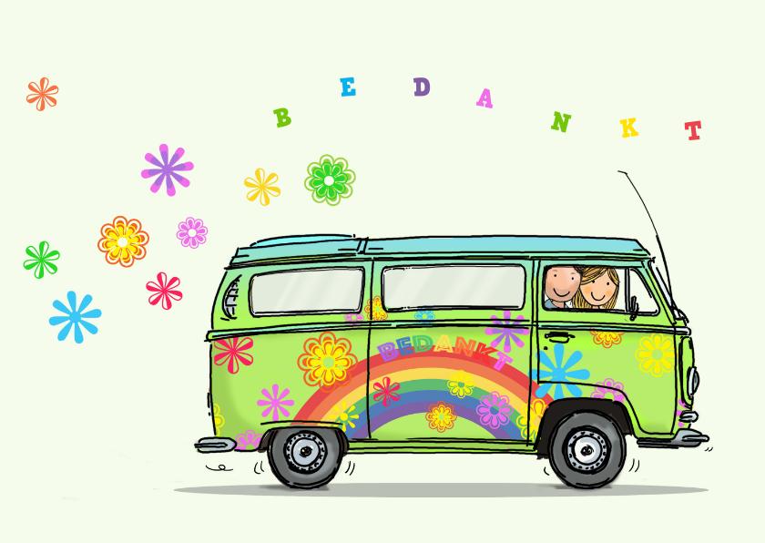 VW bus kaart bloemen Anet Illustratie 1