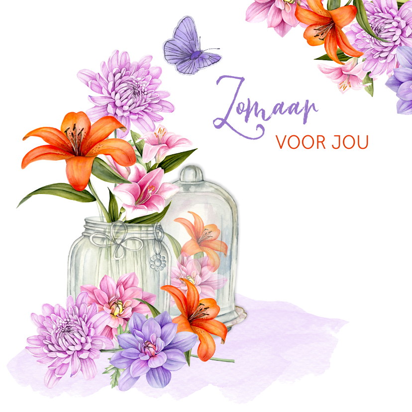 Zomaar kaarten - Zomaar bloemen in vaasje en stolp