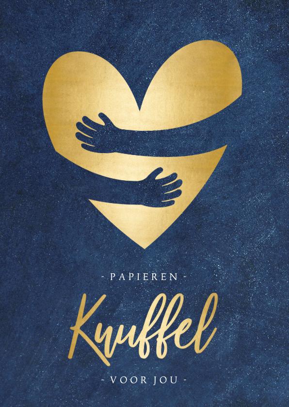 Zomaar kaarten - Zomaar corona papieren knuffel met gouden hart staand