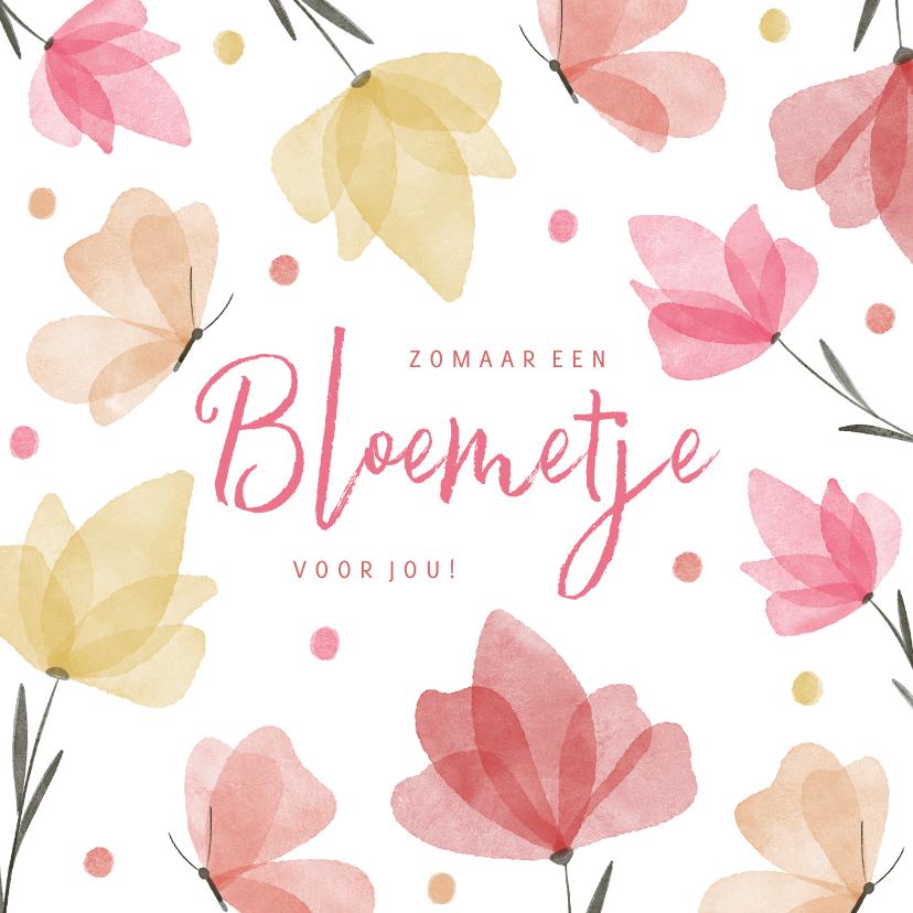 Zomaar kaarten - Zomaar een bloemetje voor jou waterverf met vlinders